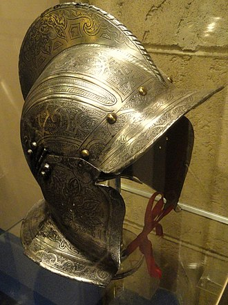 Burgonet - German burgonet, c. 1560, showing the open face of the helmet.