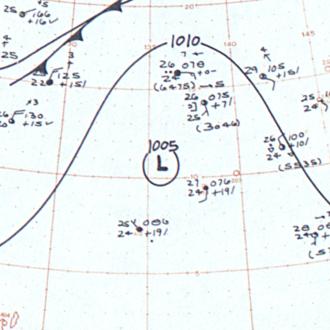 1963 Pacific typhoon season - Image: CMA Tropical Depression 1 April 1 1963