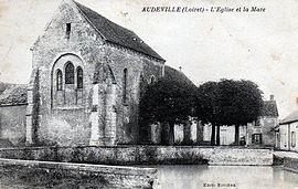 An old postcard view of the church in Audeville