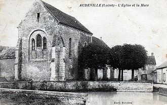 Audeville - An old postcard view of the church in Audeville