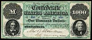 Confederate States dollar - Image: CSA T1 $1000 1861