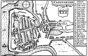 Caernarfon Castle - Map of Caernarfon in 1610 by John Speed. The castle was at the south end of the settlement.