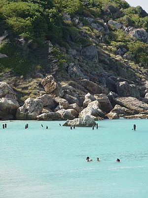 Caja de Muertos - Beachgoers enjoy Pelicano Beach in Caja de Muertos