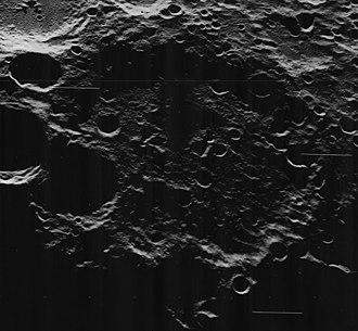 Campbell (lunar crater) - Oblique view from Lunar Orbiter 5, facing west