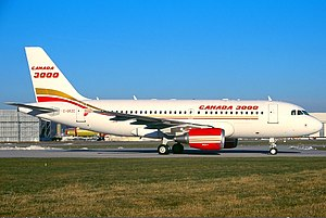 Canada 3000 - A Canada 3000 Airbus A319 at Hamburg Airport, Germany. (2002)