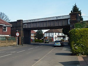 Cannon Hill tube station - Railway bridge over Cannon Hill Lane, the site proposed for the station