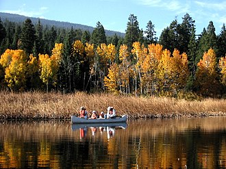 Klamath Falls, Oregon - Upper Klamath Lake Canoe Trail, with ponderosa pine and quaking aspen in fall foliage