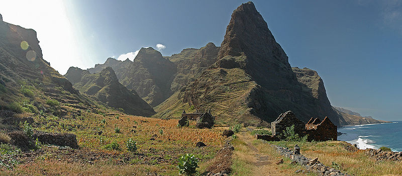 View of the steep coast near Forminguinhas on the island of Santo Antão, Cape Verde