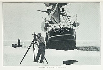 SS Southern Cross (1886) - Theodolite work in the ice pack, during Southern Cross Expedition, with the SS Southern Cross in the background