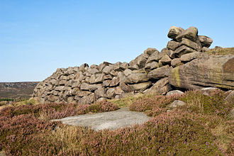 Carl Wark - Outer stone face of the western rampart