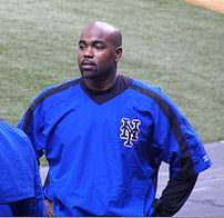 New York Mets first baseman Carlos Delgado before a Mets/Devil Rays spring training game at Tropicana Field in St. Petersburg, Florida.
