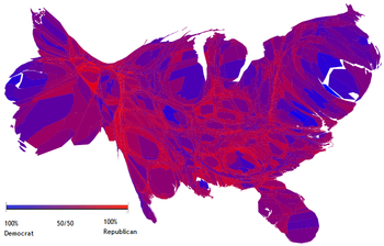 Cartogram Of The United States Showing Each County With A Size Proportional To Its Population The Colors Reflect The 2004 Presidential Election Results