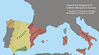 Crowns and Kingdoms of the Catholic Monarchs in Europe (1500) Catholic monarch territories-1500.jpg
