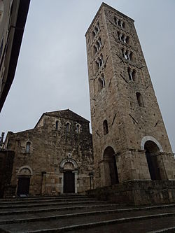 Front and Campanile of the Anagni Cathedral.