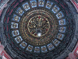 Caisson (Asian architecture) - A round caisson in the imperial garden at the Forbidden City