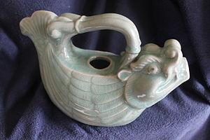 Makara (Hindu mythology) - Celadon green-blue glazed Pottery Ewer, Molded as Makara Dragon-Fish