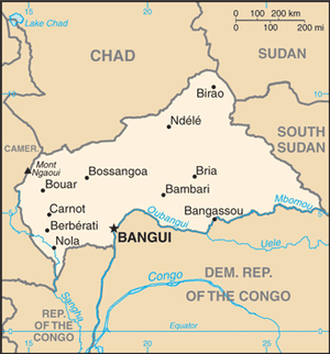 on central african republic map