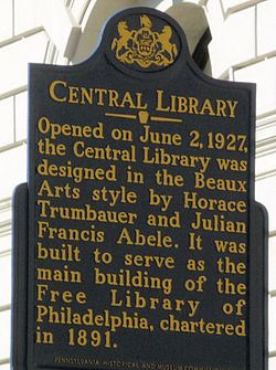 Photo of Philadelphia Central Library, Horace Trumbauer, and Julian Francis Abele blue plaque