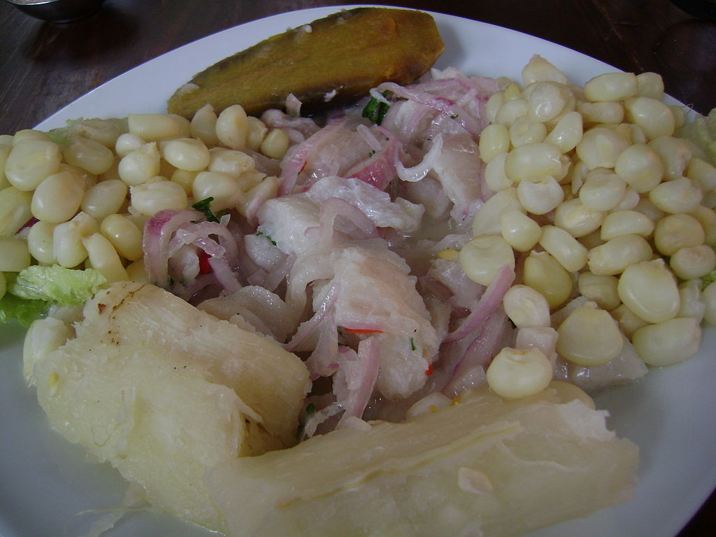 ... Ceviche de lenguado, served with beans of boiled corn and sweet