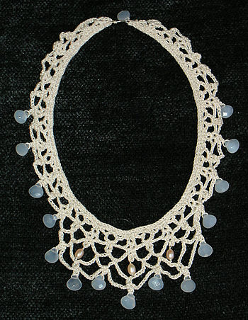 Necklace made from crochet lace (mercerized co...