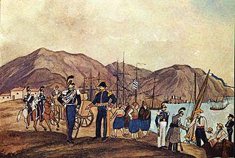 Hellenic Gendarmerie - Gendarmes in Chalkis in 1835.