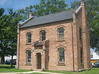 Center, Texas - Chamber of Commerce Building in Center. This building is the original jail, built along with the Historic Courthouse. Both sit on the Town Square.
