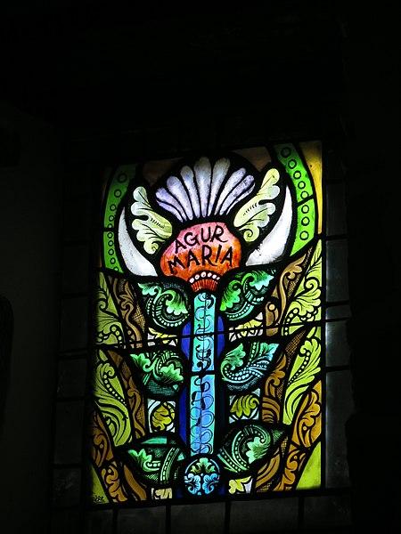 "Stained glass window ""Agur Maria"" (=Goodbye Maria) of the chapel of Saint Lawrence of Guermiette in Saint-Étienne-de-Baïgorry (Pyrénées-Atlantiques, France)."