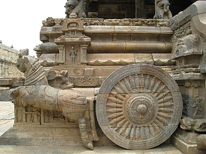 Chariot detail at Airavatesvara Temple built by Rajaraja Chola II in the 12th century CE.