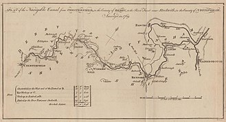 Chesterfield Canal - The Chesterfield canal surveyed in 1769. Published in the Gentleman's Magazine in 1777.