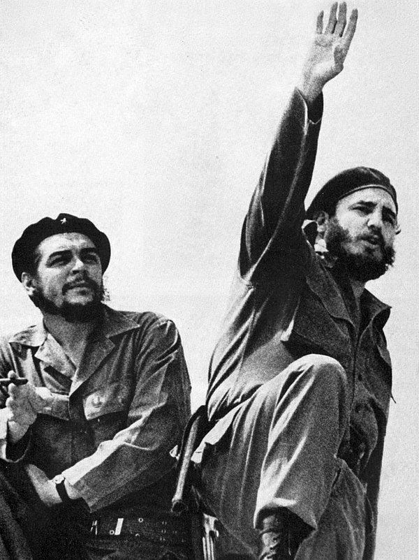 Che Guevara and Fidel Castro, leader of the Republic of Cuba from 1959 to 2008, successfully led to victory the Cuban Revolution in 1959 CheyFidel.jpg
