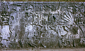 Human sacrifice in Maya culture - Sculpture in the Great Ballcourt at Chichen Itza depicting sacrifice by decapitation. The figure at left holds the severed head of the figure at right, who spouts blood in the form of serpents from his neck