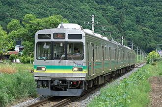 Chichibu Main Line - A Chichibu Railway 7500 series EMU on the Chichibu Main Line in May 2011