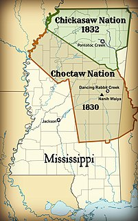 Treaty of Pontotoc Creek treaty signed on October 20, 1832 by representatives of the United States and the Chiefs of the Chickasaw Nation