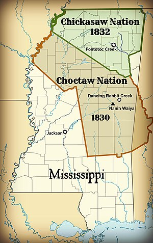 Treaty of Pontotoc Creek - Chickasaw Nation Territory in 1832. The remaining Mississippi lands ceded in the Treaty of Pontotoc Creek.