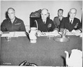 Chiefs of Staff Brig. Gen. A. J. McFarland, Adm. William Leahy, and Adm. Ernest J. King at a meeting during the... - NARA - 198833.tif