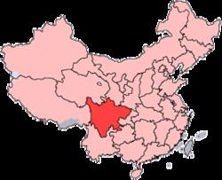 Sichuan er vist på kortet