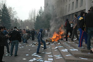 April 2009 Moldovan parliamentary election protests - Riot in front of the Moldovan Parliament, 7 April 2009