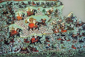 Battle of Haldighati - Painting of the battle by Chokha of Devgarh, 1822