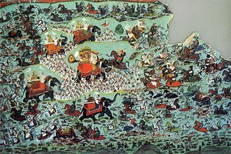 Battle of Haldighati - Painting of the traditional account of the battle by Chokha of Devgarh, 1822