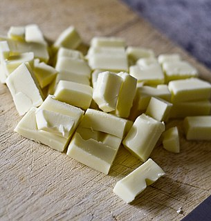 White chocolate Confection made with cocoa butter that does not contain cocoa solids