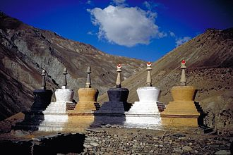 Zanskar - Row of Chorten (or Stupa) at the village of Purne. Each of the elements that constitute these edifices, as well as their color, has a symbolic meaning in Tibetan Buddhism.