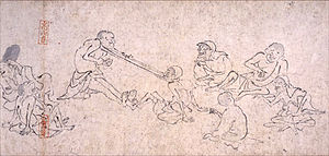 Chōjū-jinbutsu-giga - Panel from the 3rd scroll, picturing two people jokingly playing tug-a-war with their heads