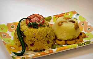 Kesari bhath - Chow Chow bath, a popular breakfast in Karnataka, consists of one serving of the spicy kharabath and another of a sweet kesaribath.