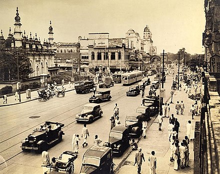 Chowringhee avenue and Tipu Sultan Mosque in central Calcutta, 1945 Chowringhee Square, Calcutta in 1945.jpg