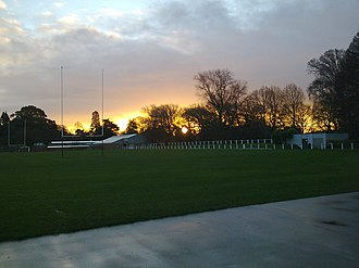 Christ's College, Christchurch - The Christ's College Sports Field called Upper, at sunset