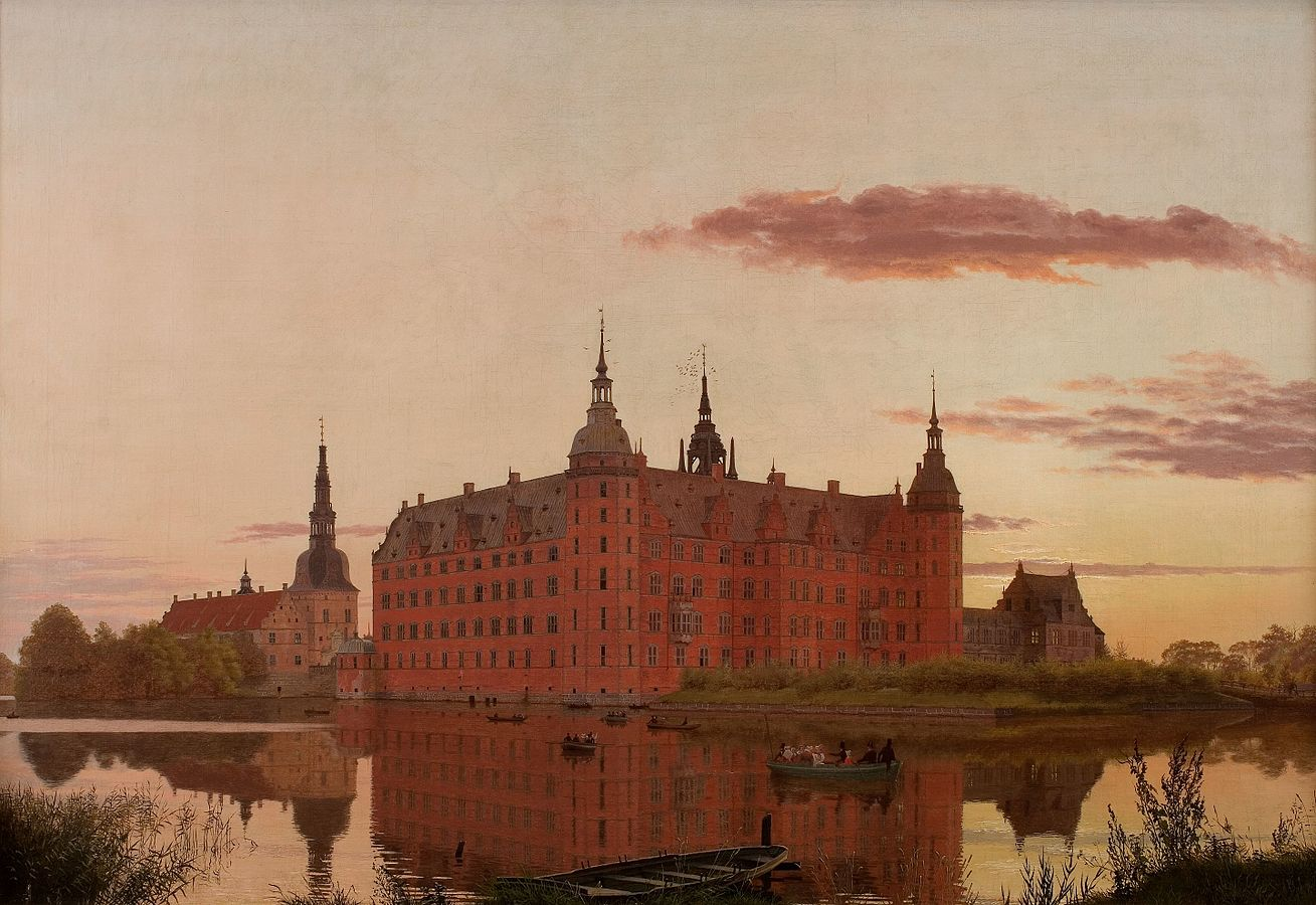 Frederiksborg Palace seen from Jægerbakken. Evening.
