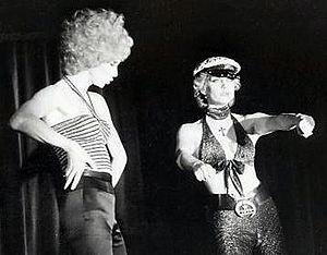 Ulla Jones - Lindarw (left) and Jones in Leader of the Pack at Alexandra's in 1976.