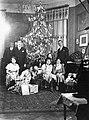 Christmas, baby carriage, model car, family, saloon, christmas tree, curtain, carpet, tableau, men, women, kids, interior Fortepan 10229.jpg