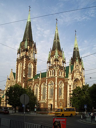 Church of Sts. Olha and Elizabeth, Lviv - The facade and belltower