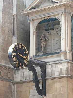 St Dunstan-in-the-West - The clock, dating from 1671.
